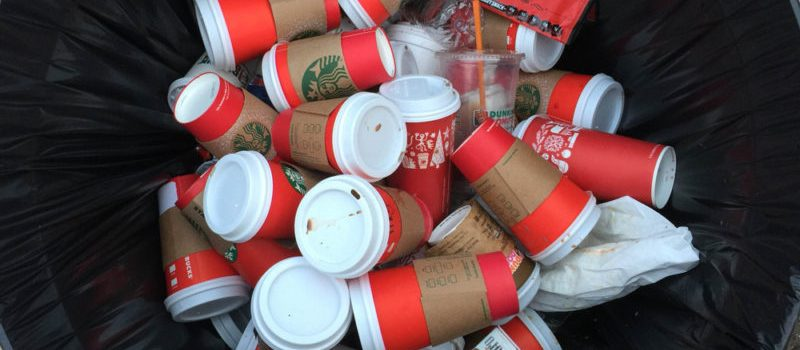 coffe cups in the bin