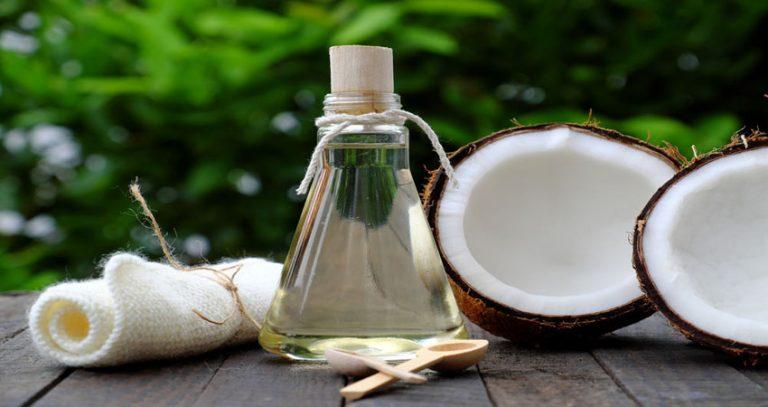 fractionated coconut oil in glass jar